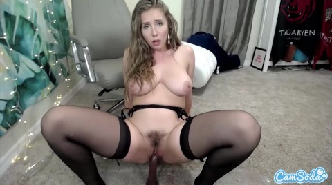 Buxom and shapely Lena Paul fucks her pussy with a new sex toy