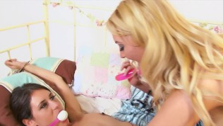 Handcuffed Lesbians Wand and Strap On FULL