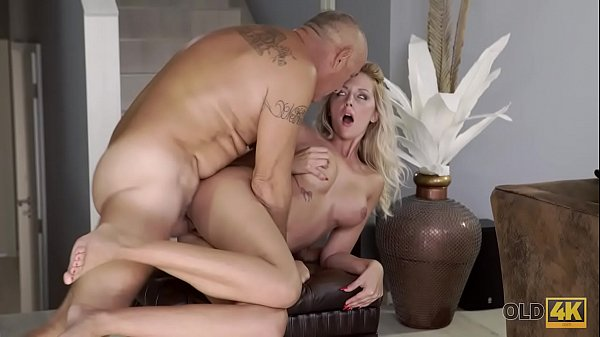 OLD4K. Old man and chesty wife come home only to embark amazing sex